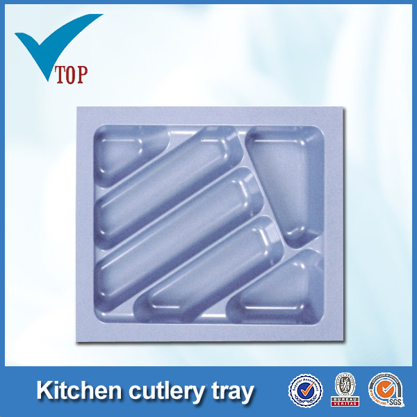 Kitchen drawer plastic cutlery tray