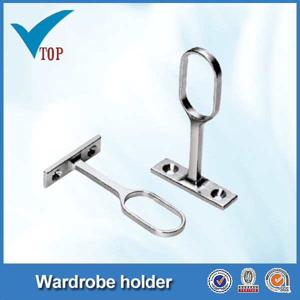 Zinc alloys oval tube tube holder for wardrobe