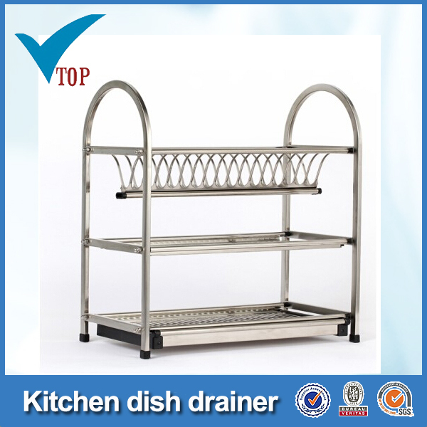 3 tier stainless steel kitchen dish drainer