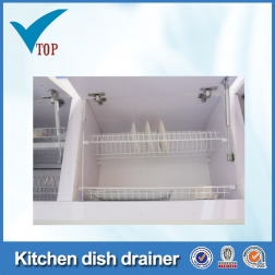 White PVC coating steel wire dish racks for kitchen cabinets