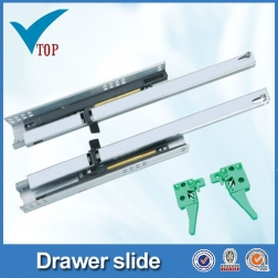 2 Fold concedde plastic drawer slide rail parts for hardware VT-15.010