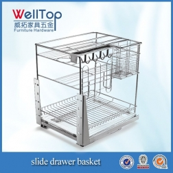 Stainless steel kitchen cabinet spice pull basket