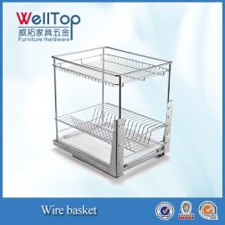 Chrome steel kitchen wire pull-out basket for dish