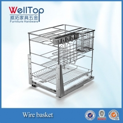 Steel wire kitchen cabinet sliding wire pull-out basket