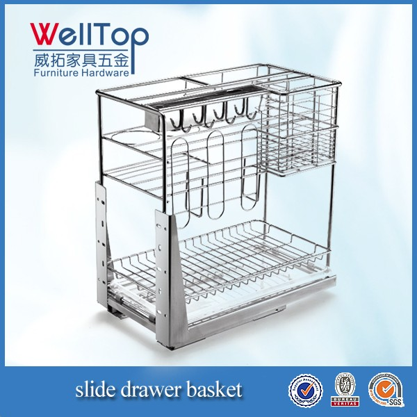 Stainless steel kitchen cabinet wire cooking basket