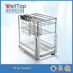 Stainless steel 4 layer base pullout basket