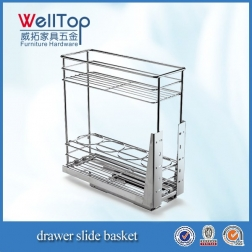 Chrome steel kitchen wire pull-out basket