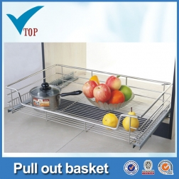 Stainless steel kitchen cabinet pull out basket
