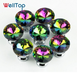 30MM Colour Diamond Door Knobs Crystal Glass Cupboard Drawer Pull Handles Hardware VT-01.148