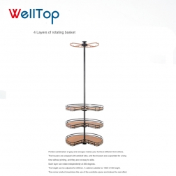 Welltop 4-layer corner revolving storage basket for wardrobe VT-10.029