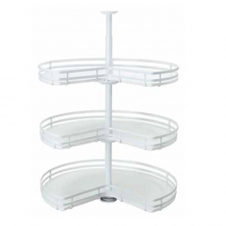 Welltop 3 tier white wire Rotating round basket storage rack VT-10.051